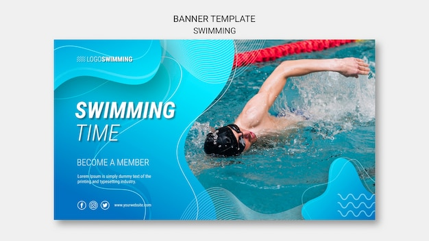 Sjabloon voor spandoek met zwemmen