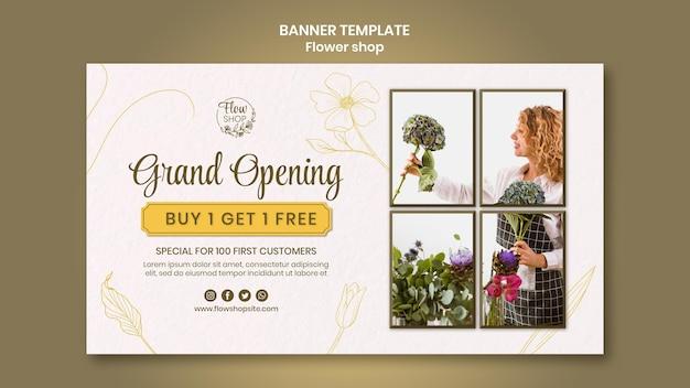 Sjabloon voor spandoek openen van bloemenwinkel