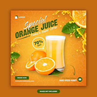 Sjabloon voor spandoek oranje drankje
