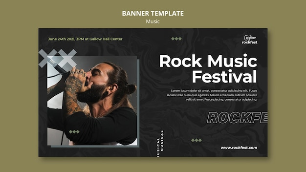 Sjabloon voor spandoek rock festival