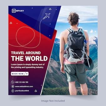 Sjabloon voor spandoek sociale media reizen