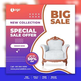 Sjabloon voor spandoek sociale media voor meubels te koop
