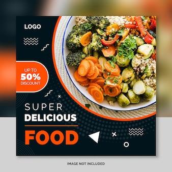 Sjabloon voor spandoek sociale media voor restaurantvoedsel