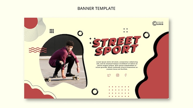Sjabloon voor spandoek straat sport