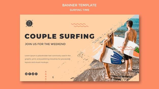 Sjabloon voor spandoek surf concept