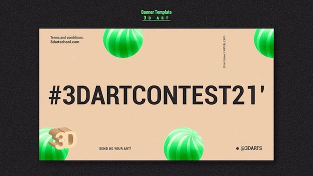 Sjabloon voor spandoek van 3d-kunstwedstrijd