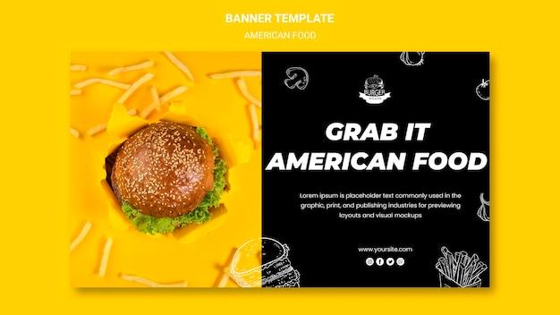 Sjabloon voor spandoek van amerikaans eten