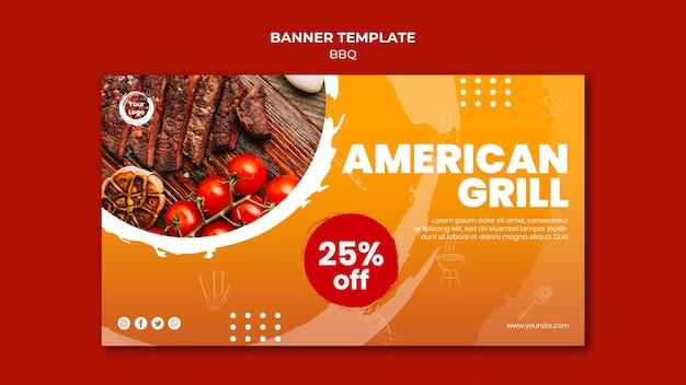 Sjabloon voor spandoek van amerikaanse bbq en grill huis