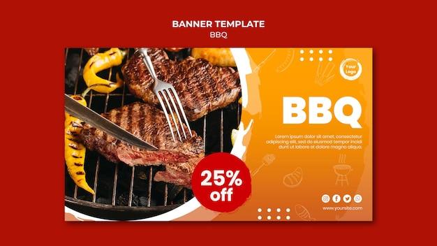 Sjabloon voor spandoek van amerikaanse vlees grill en vork