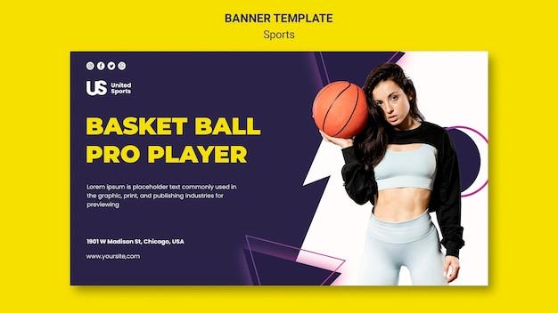 Sjabloon voor spandoek van basketbaltoernooi
