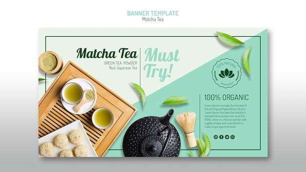 Sjabloon voor spandoek van biologische matcha-thee