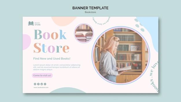 Sjabloon voor spandoek van boekhandel promo