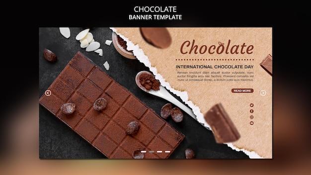 Sjabloon voor spandoek van chocolade winkel Gratis Psd