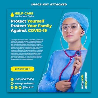 Sjabloon voor spandoek van coronavirus