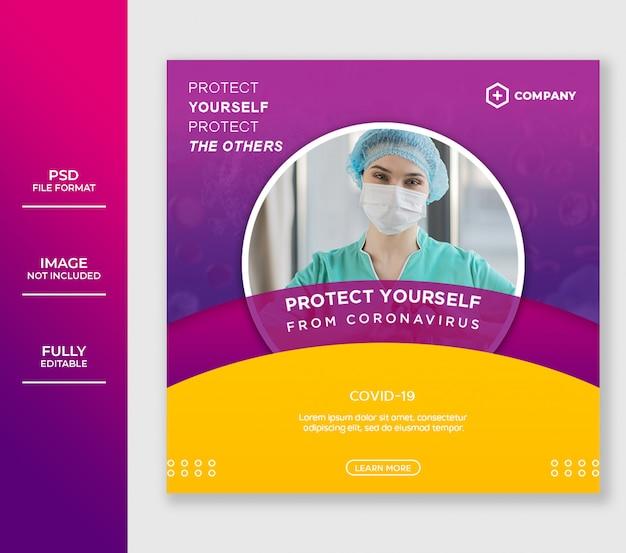 Sjabloon voor spandoek van coronavirusbescherming