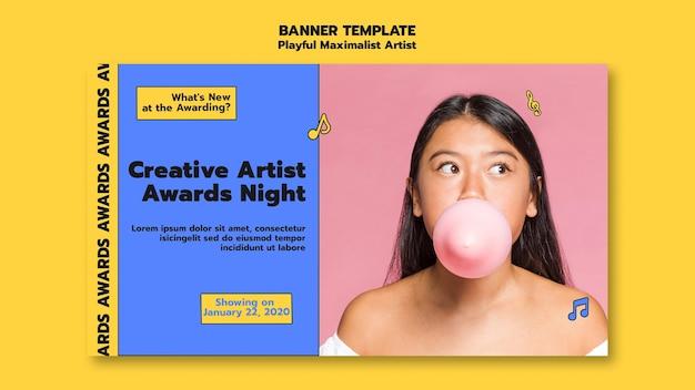Sjabloon voor spandoek van creatieve kunstenaar award nacht