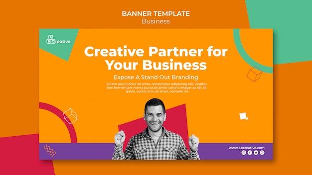 Sjabloon voor spandoek van creatieve zakenpartner