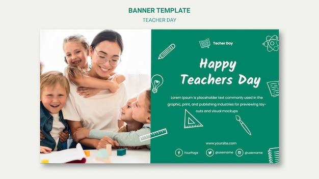 Sjabloon voor spandoek van de dag van de gelukkige leraar