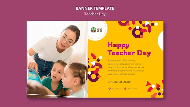 Sjabloon voor spandoek van de dag van de leraar