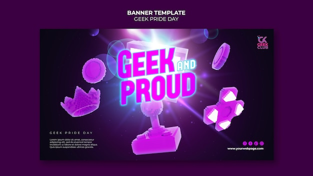Sjabloon voor spandoek van de geek pride-dag