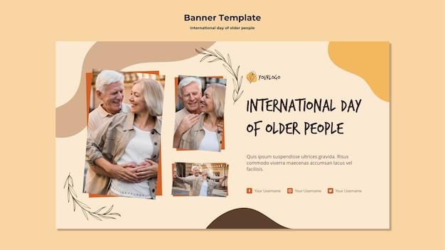 Sjabloon voor spandoek van de internationale dag van ouderen