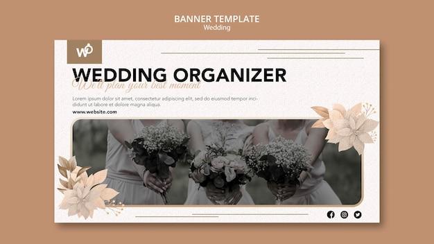 Sjabloon voor spandoek van de organisator van het huwelijk