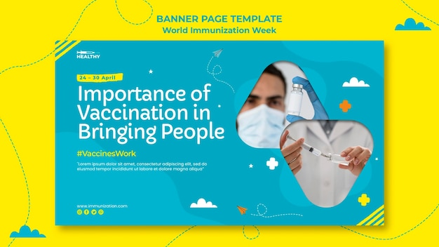 Sjabloon voor spandoek van de wereld immunisatie week