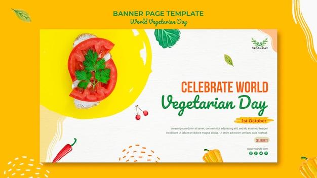 Sjabloon voor spandoek van de wereld vegetarische dag
