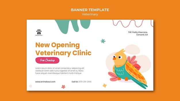 Sjabloon voor spandoek van dierenarts kliniek