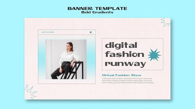 Sjabloon voor spandoek van digitale mode weggelopen