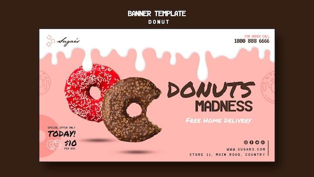 Sjabloon voor spandoek van donuts-waanzin