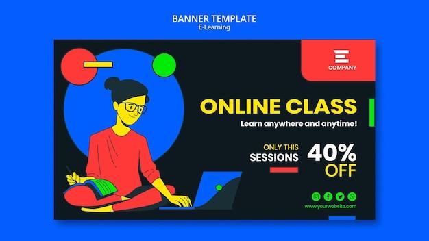 Sjabloon voor spandoek van e-learning platform
