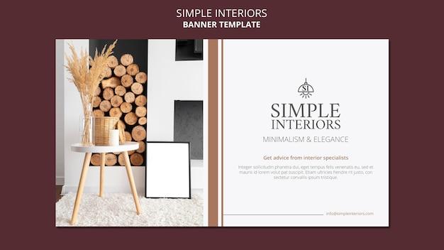 Sjabloon voor spandoek van eenvoudige interieurs