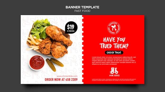 Sjabloon voor spandoek van fast food advertentie