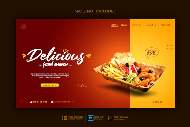 Sjabloon voor spandoek van fast food web