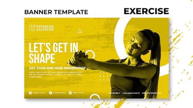 Sjabloon voor spandoek van fitness oefening