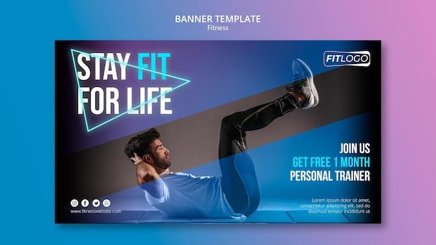Sjabloon voor spandoek van fitnesstrainer