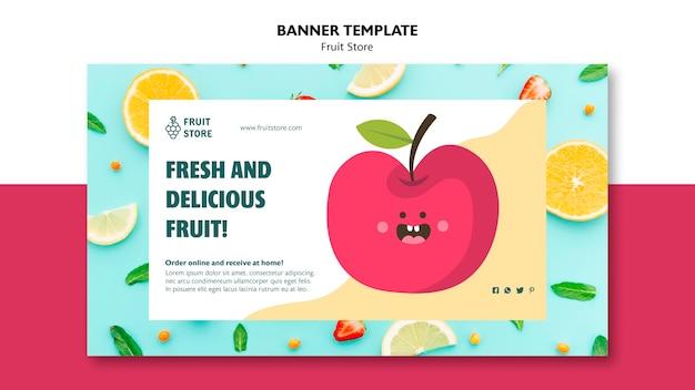Sjabloon voor spandoek van fruit winkel