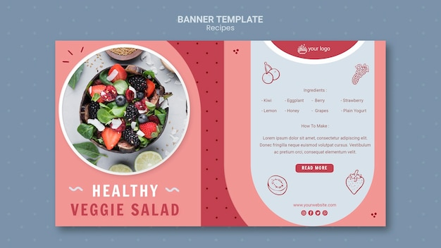 Sjabloon voor spandoek van gezonde vegetarische salade