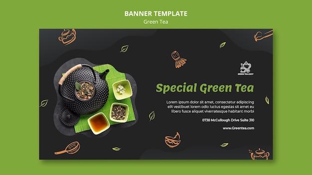 Sjabloon voor spandoek van groene thee