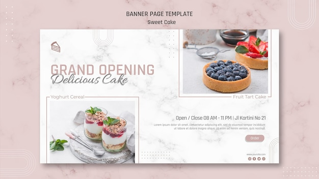 Sjabloon voor spandoek van heerlijke zoete cakewinkel