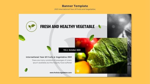 Sjabloon voor spandoek van het internationale jaar van groenten en fruit