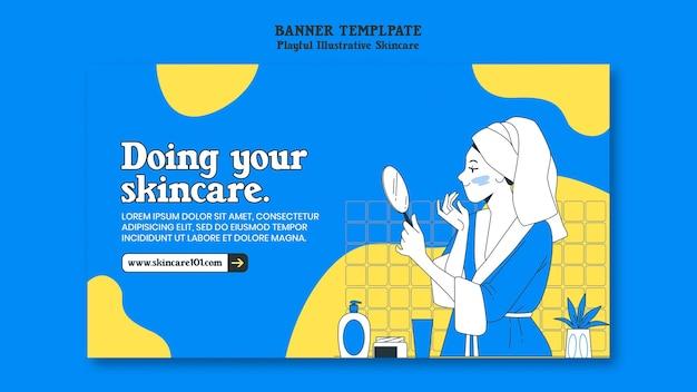 Sjabloon voor spandoek van huidverzorging routine