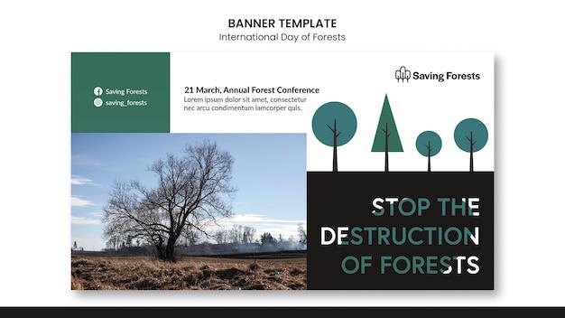 Sjabloon voor spandoek van internationale dag van bossen