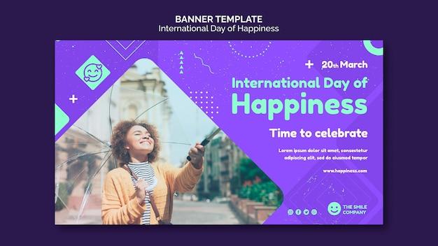 Sjabloon voor spandoek van internationale dag van geluk