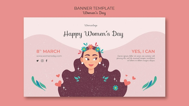 Sjabloon voor spandoek van internationale vrouwendag