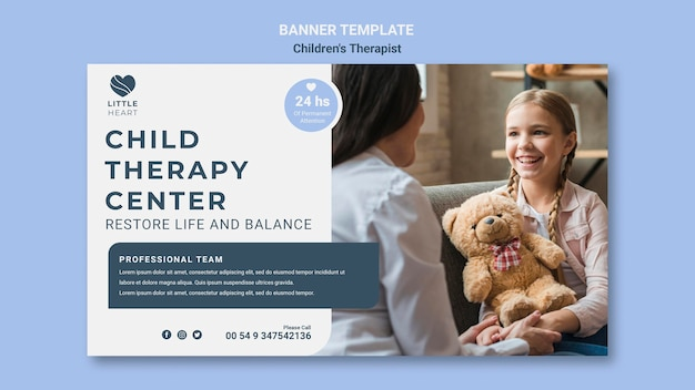 Sjabloon voor spandoek van kindertherapeut concept