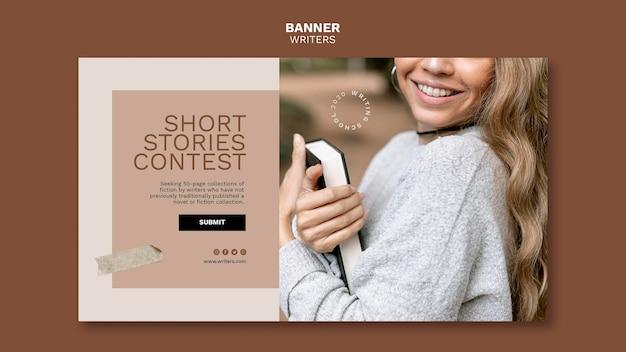 Sjabloon voor spandoek van korte verhalen wedstrijd