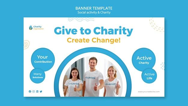 Sjabloon voor spandoek van liefdadigheidsactiviteiten