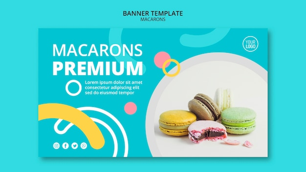 Sjabloon voor spandoek van macarons premium
